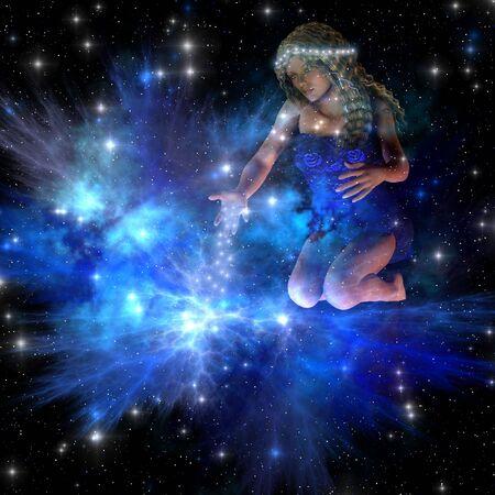 Vesta - Vesta는 우주 별자리 가운데 밝은 별을 퍼트립니다.