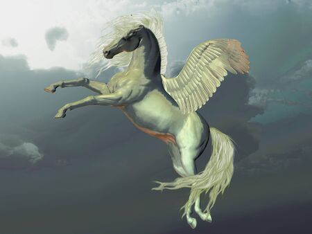 ivory: IVORY PEGASUS - Ivory Pegasus flies up into the clouds above the Earth. Stock Photo