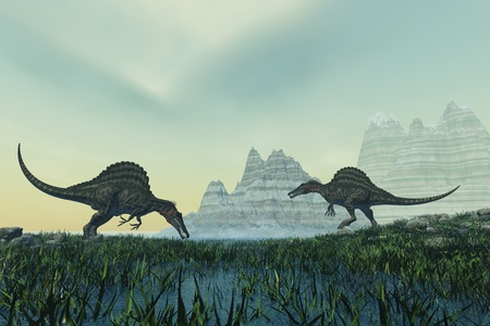 triassic: SPINOSAURUS - Two Spinosaurus dinosaurs drink from a marsh area in prehistoric times.