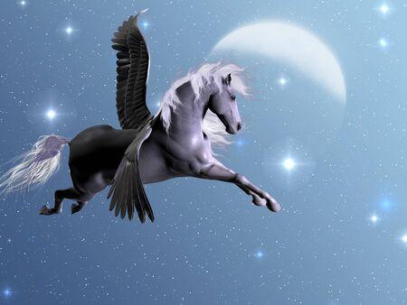 STARLIGHT PEGASUS - zilveren Pegasus vliegt in de buurt van de sterren en de maan op een heldere nacht.