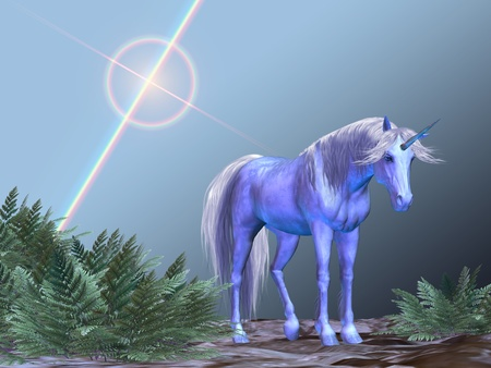 steed: UNICORN RESTING - A white unicorn rests under a bright star. Stock Photo