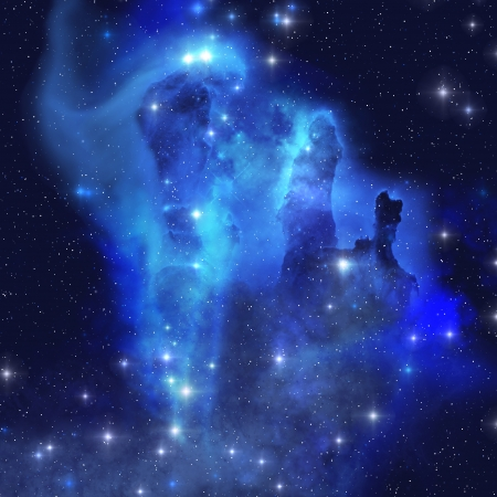 BLUE EAGLE NEBULA - The brilliant blues of this star making nebula shine throughout the cosmos.