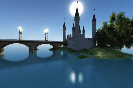 CASTLE BY THE SEA - A castle gleams in the moonlight in the still waters of the sea.
