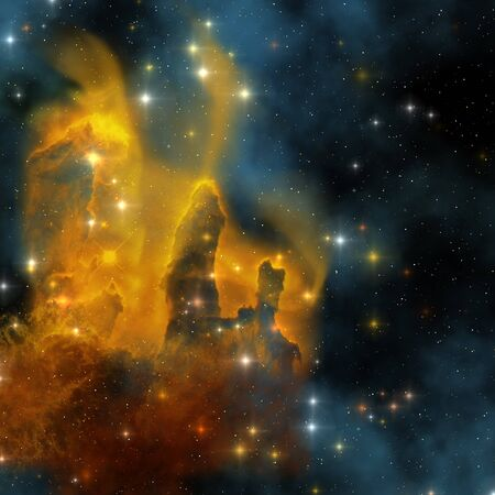 EAGLE NEBULA - The famous colorful nebula shines bright with star making in its clouds. Stock Photo
