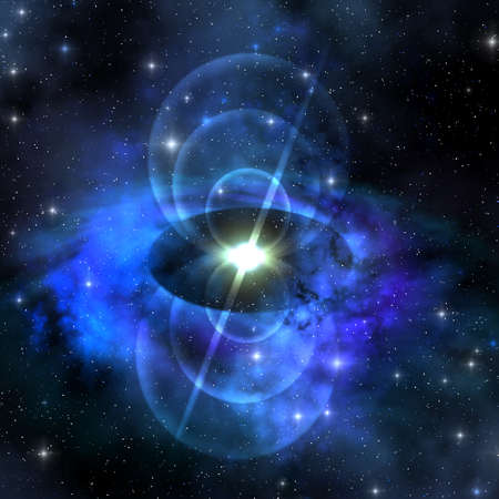MAGNETIC PULSE STAR - A brilliant star sends out magnetic waves out into surrounding space. photo