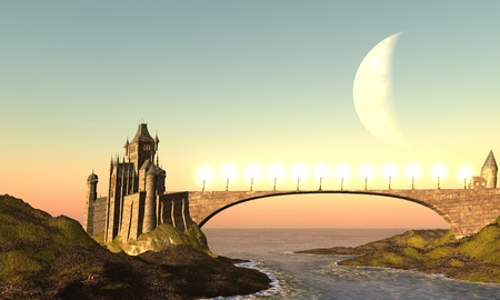 fantasy world: MORAVIAN CASTLE - A castle and its bridge are bathed in the colors of the sunset.