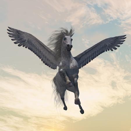 PEGASUS 2 - la créature légendaire du mythe et la légende, le blanc Pegasus, vole avec des belles ailes. Banque d'images