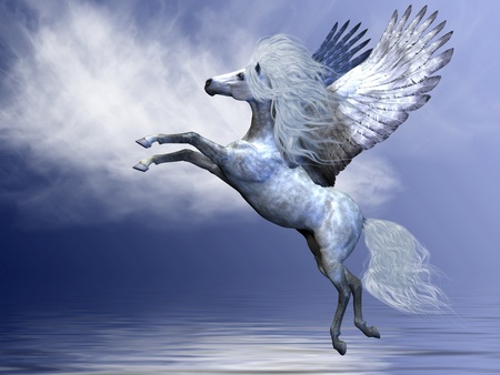 steed: WHITE PEGASUS - White Pegasus spreads his magnificent wings in flight over an ocean.