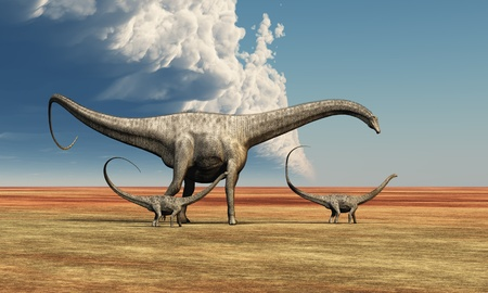 Mother Diplodocus - Mother Diplodocus dinosaur walks along with her brood of youngsters. Stock Photo