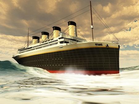 titanic: Paquebot Titanic - La glisse grandiose et �l�gante Titanic � travers l'oc�an avec la facilit�.