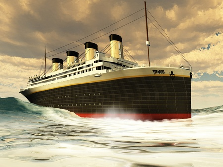 Titanic Ocean-Liner - The grand and elegant Titanic glides through the ocean with ease.
