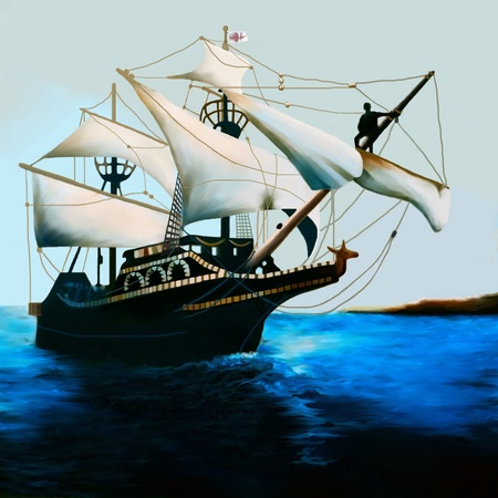 The Golde Hind - The Golden Hind is an English galleon best known for its circumnavigation of the globe between 1577 and 1580, captained by Sir Francis Drake. Stock Photo - 9329074