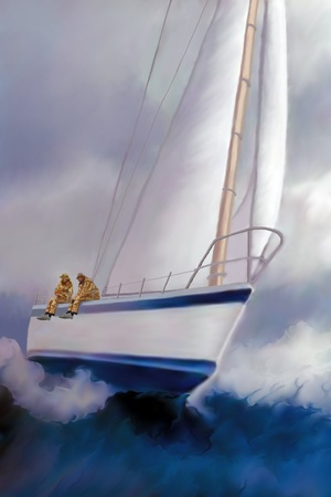 schooner: High Roller Sailing - Two sailors enjoy the excitement of rough seas and the ride of a sailboat heeling over.