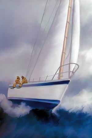 High Roller-Segeln - zwei Matrosen genießen Sie die Aufregung rauher See und die Fahrt ein Segelboot Krängung über.