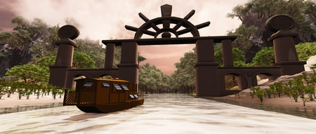 junk boat: Dragon Gorge - A junk boat travels under a gate to a mysterious gorge.