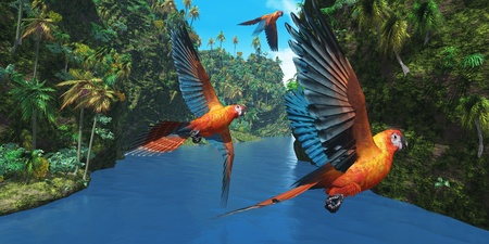 Cuban Red Macaw 2 - Three amazing parrots fly over a jungle river in their brightly colored plumage.