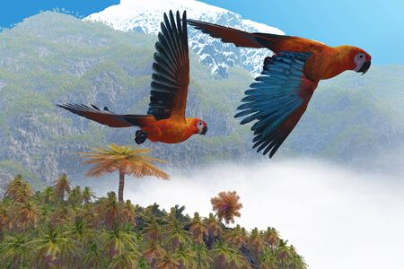 bipedal: Cuban Red Macaw - Two beautiful parrots fly together in their jungle paradise.