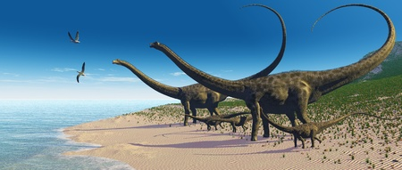 triassic: Diplodocus Herd - A Diplodocus herd comes down to a lake for a drink of water.