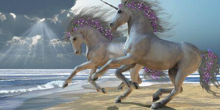 beauty and the beast: Playing Unicorns Part 2 - Two beautiful white unicorns frolic on the beach.