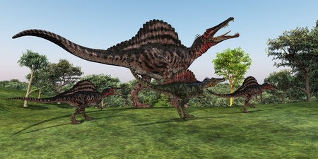spinosaurus: Spinosaurus Mother - A Spinosaurus mother walks with her youngsters in prehistoric times.