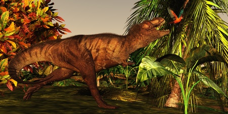 T-Rex Jungle - A Tyrannosaurus Rex runs after a beautiful Cuban Red Macaw deep in the jungle.