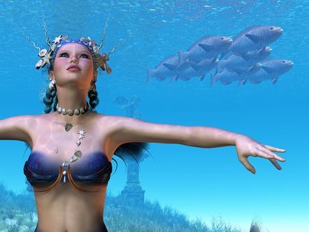 Mermaid Dreams - This beautiful mermaid has grace and elegance in her underwater world. photo