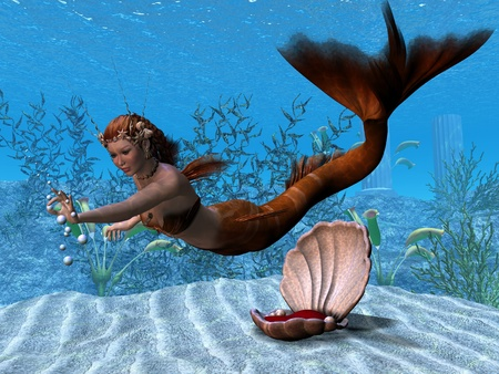 underwater fishes: Underwater Mermaid - A beautiful mermaid reaches out to play with bubbles in her underwater garden.