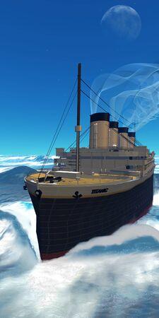 cruiseship: Cruiseship Titanic - el barco Titanic cruceros junto con arreglo a todo vapor debajo de un cielo nocturno. Foto de archivo