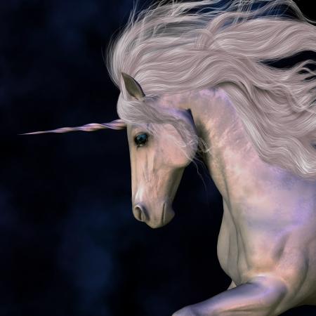 A white buck unicorn's horn has a beautiful pink glow. 写真素材