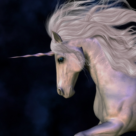 A white buck unicorns horn has a beautiful pink glow.