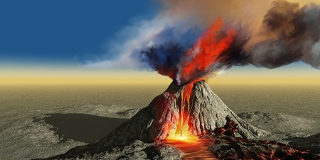 Volcano Smoke - An active volcano belches smoke and molten red lava in an eruption.