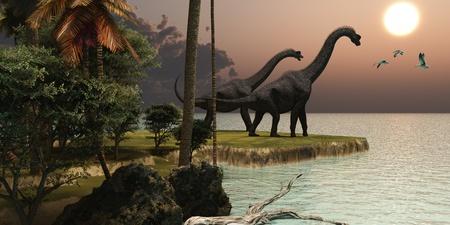 恐竜: ブラキオサウルス日没 - 2 ブラキオサウルス恐竜は美しい夕日をお楽しみください。 写真素材