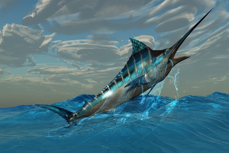 Blue Marlin Jump - An iridescent Blue Marlin bursts from ocean waters with with marvelous energy.