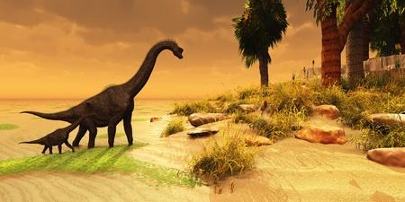 恐竜: ブラキオサウルス島 - 母恐竜ブラキオサウルス ジュラ紀時代の島の生息地に彼女の offsring をもたらします。 写真素材