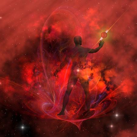 Espíritu Humano 3 - La esencia y el cuerpo del espíritu masculino negro incluyendo la capacidad mental y espiritual. Foto de archivo - 10677128