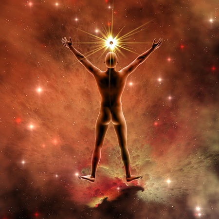 Human Spirit 4 - De essentie en het gehele lichaam van de mannelijke geest inclusief de spirituele en mentale vermogens. Stockfoto