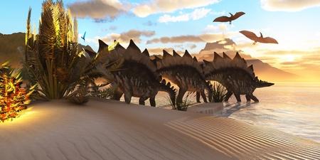 Dinosaurio Stegosaurus - Varios dinosaurios Stegosaurus navegar por entre la vegetación junto a un lago en el período Jurásico. Foto de archivo