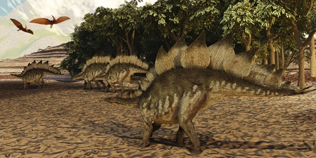 pterodactyl: Stegosaurus - A herd of Stegosaurus walk down a muddy riverbed in search of food while two Pterosaurs fly over them. Stock Photo