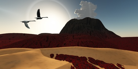 recently: Volcano 03 - Two Swans fly over cooling lava flows from a recently active volcano.