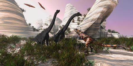 Carnotaurus - Un dinosaurio Carnotaurus se acerca a dos enormes Brachiosaurus para una batalla, mientras que dos pterod�ctilos reloj. Foto de archivo - 11011044