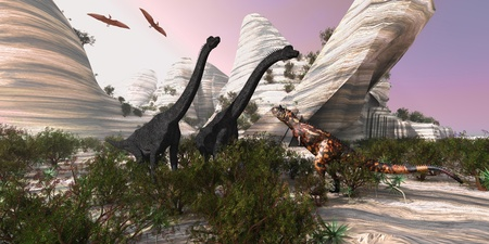 Carnotaurus - A Carnotaurus dinosaur approaches two huge Brachiosaurus for a battle while two Pterodactyls watch.