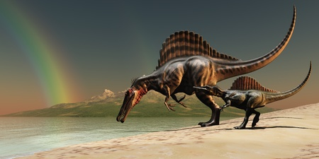 Spinosaurus Rainbow - A mother Spinosaurus dinosaur brings her offspring to a lake for a drink of water.