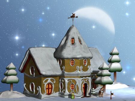 rudolf: Santas House - Santas house is full of light and Rudolf waits to welcome visitors.