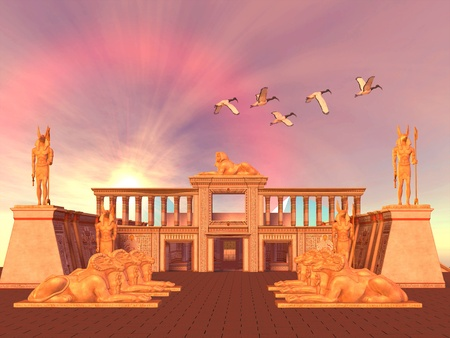 Egyptian Kingdom 01 - A flock of Sacred Ibis birds fly over an Egyptian palace and its entrance lined with Ram God Khnum statues.