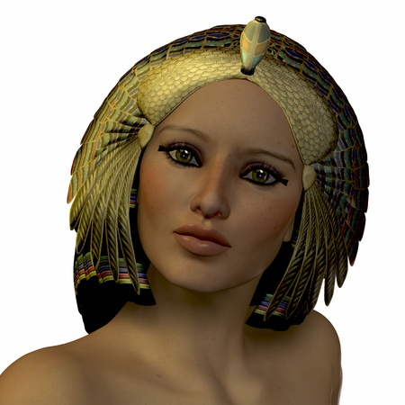 Egyptian Woman 01 - The ancient Egyptian female wore beautiful headdresses and dark makeup around their eyes.