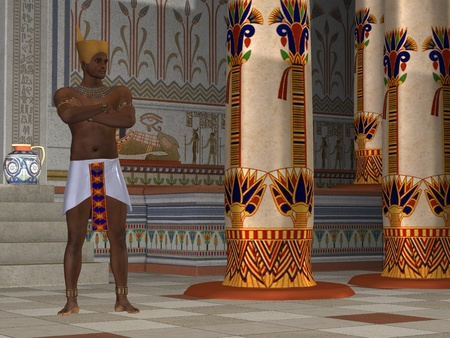 egyptian culture: Egyptian Man 02 - A handsome Egyptian king stands in his palace surrounded by opulence and beautiful hieroglyphics.