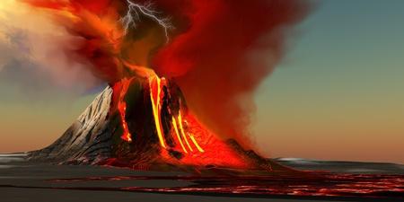 uitbarsting: Hawaii Volcano - De Kilauea vulkaan barst op het eiland Hawaii met pluimen van vuur en rook. Rivieren van lava hoofd naar de oceaan maken van nieuwe land. Stockfoto