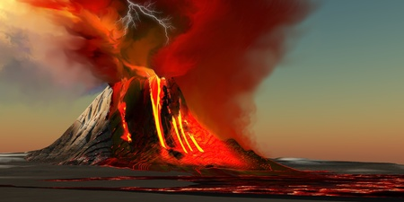 volcano: Hawaii Volcano - The Kilauea volcano erupts on the island of Hawaii with plumes of fire and smoke. Rivers of lava head to the ocean making new land.