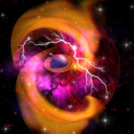 Planet Birth - The evolution of planet building with surrounding gasses and dust with electrical charges. photo