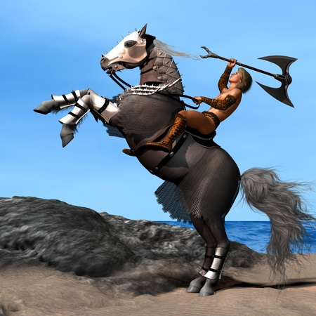 horse warrior: War Horse 01 - A warrior and his armored horse are ready to go into battle.